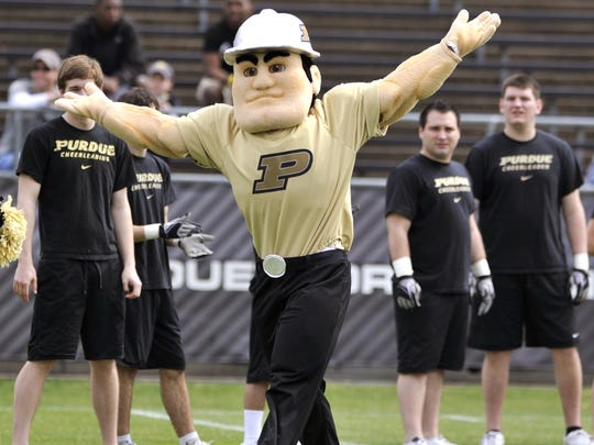 The new-look Purdue Pete reacts to the crowd booing him prior to Purdue football's spring game in April 2011 at Ross-Ade Stadium.