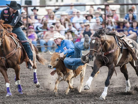 Talented steer wrestler Ty Erickson competes at the Cascade Rodeo a few years ago.