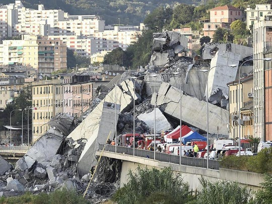 The Morandi highway bridge collapsed during a violent