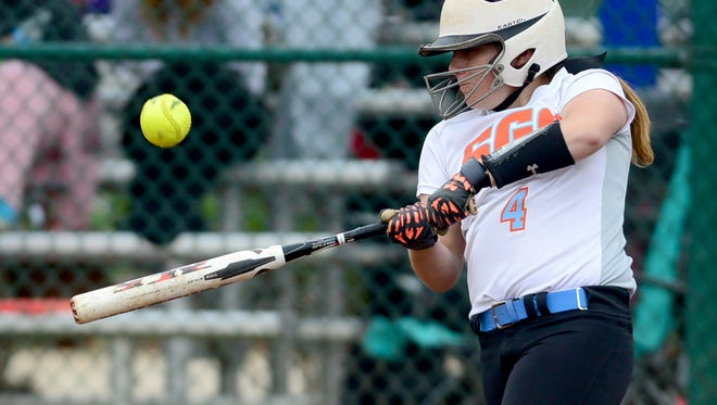 South Gibson County High School's Mackenzie Puckett takes a swing at a picth during game 9 of the 2015 Class AA State Girls' Softball Tournament, Thursday, against Christian Academy of Knoxville.