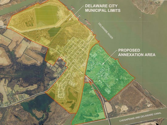 The area under possible annexation by Delaware City is shown on a map during an information session on the Fort DuPont master plan and possible annexation at the Delaware City Library Tuesday.