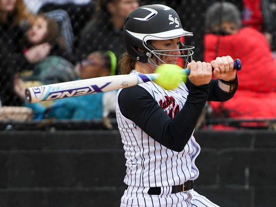 South Side's Josie Willingham takes a swing at a high