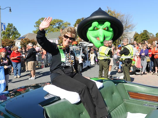 Creator of Sea Witch, Carol Everhart rides in the parade
