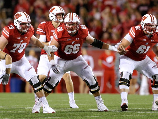 Wisconsin offensive lineman David Edwards (79), offensive