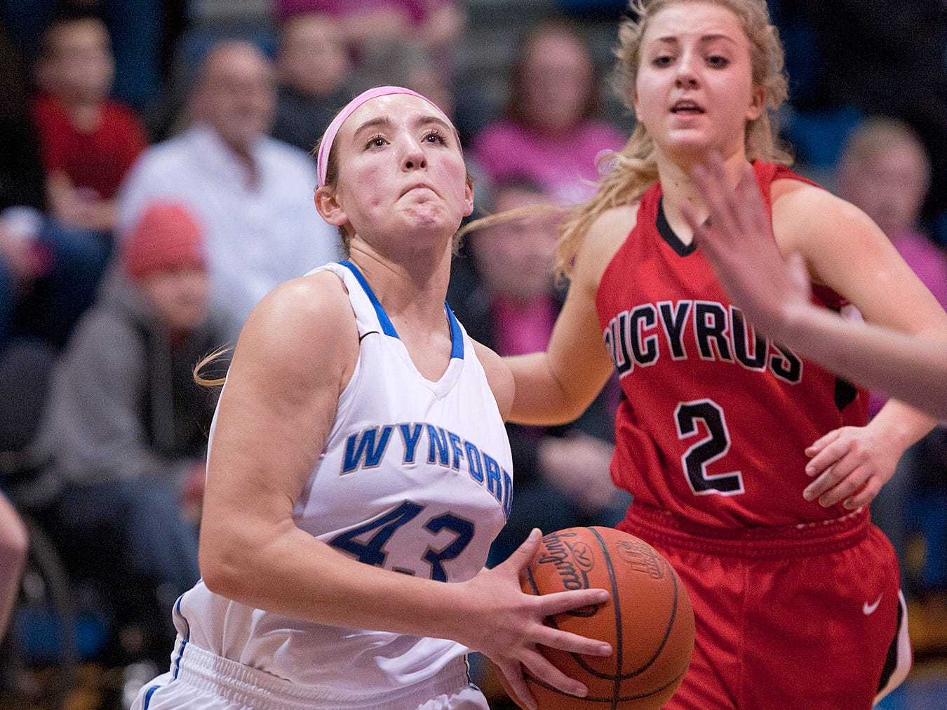 Wynford's Gretchen Harris drives to the hoop Tuesday night.