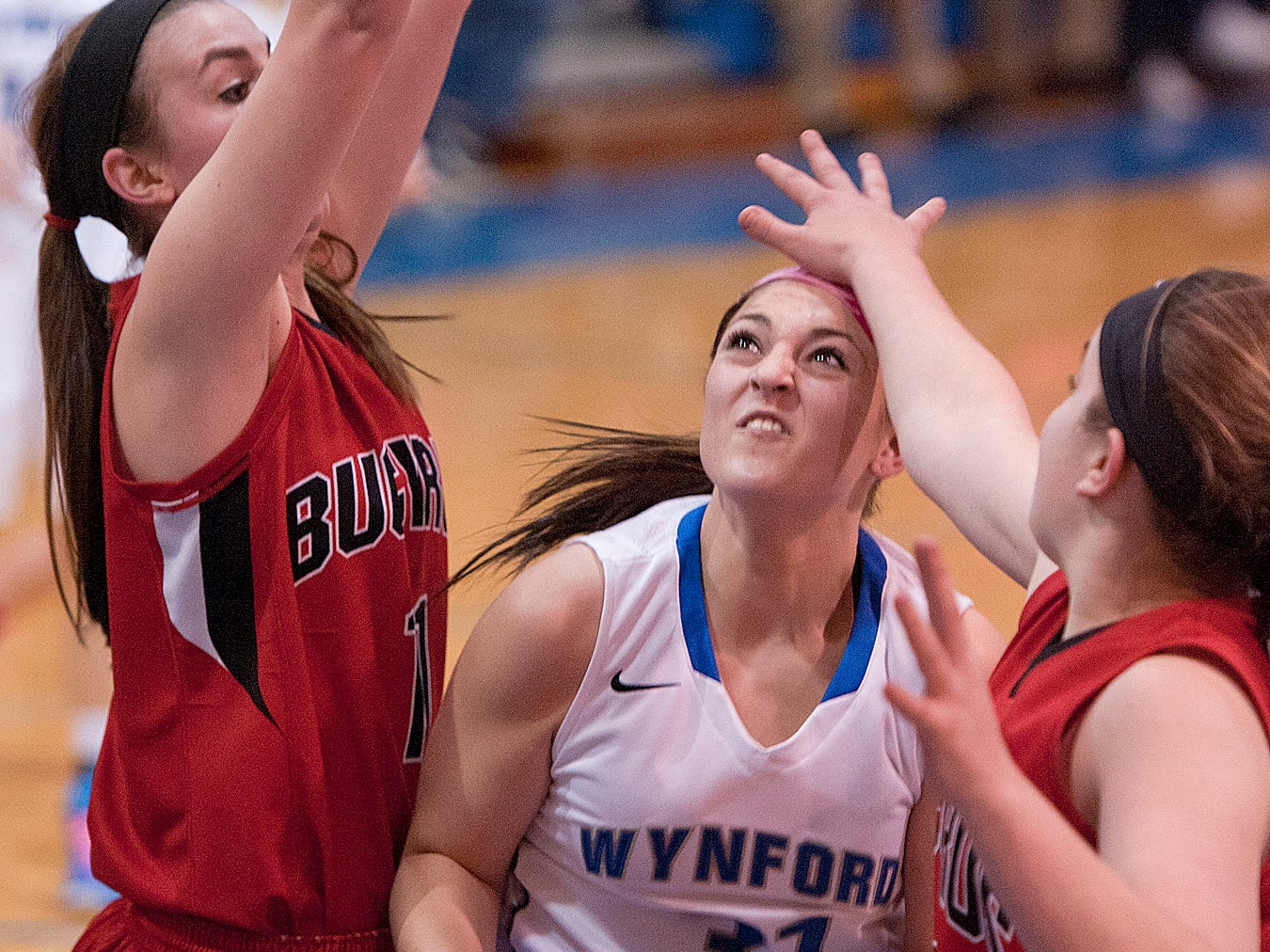 Wynford's Maci Cooper, pushes through the Bucyrus defense Tuesday night.