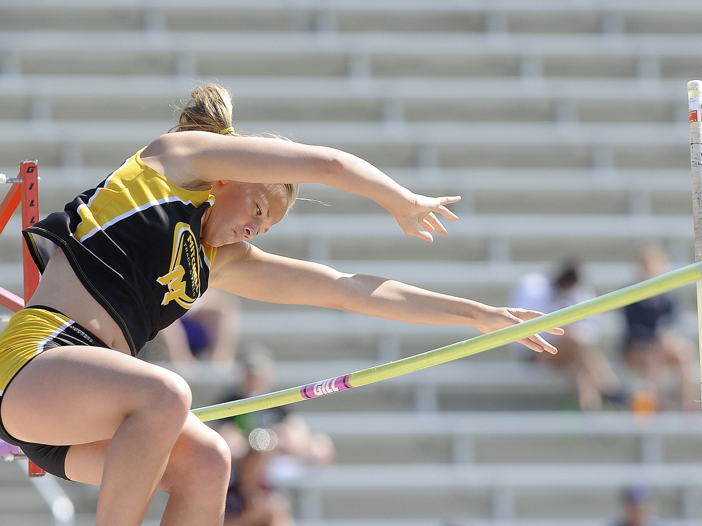 Mitchell's Tevyn Waddell takes part in the girls pole vault during Howard Wood Dakota Relays on May 2 in Sioux Falls.