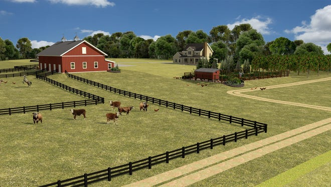 A rendering shows what the Agape Agrihood might look like if the project gains approval in the town of Mukwonago. The subdivision, centered around a mini farm, could include community gardens and pastureland for animals boarded in the barn, along with walking and riding trails.