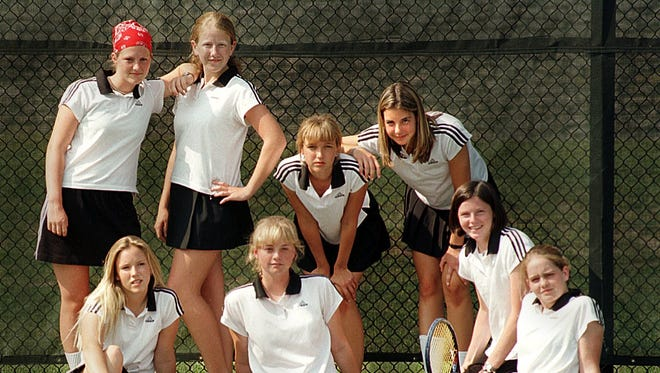 Park Tudor's 1998 girls state tennis champions: Back row, from left, Kate Lehman, Emily Sands, Ashley Walker, Brookley Crews. Front row, from left:, Kate House, Katie Martzolf, Emily Neighbours, Brooke Sagalowsky.