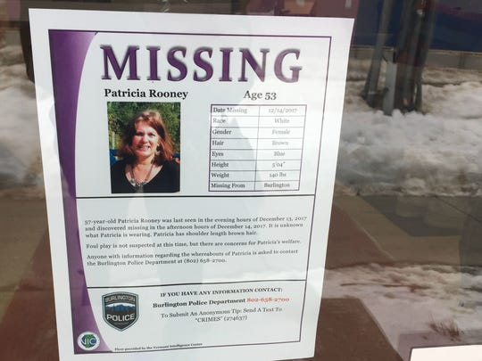 Fliers were posted throughout Burlington seeking information about Patricia Rooney after she was reported missing in December.
