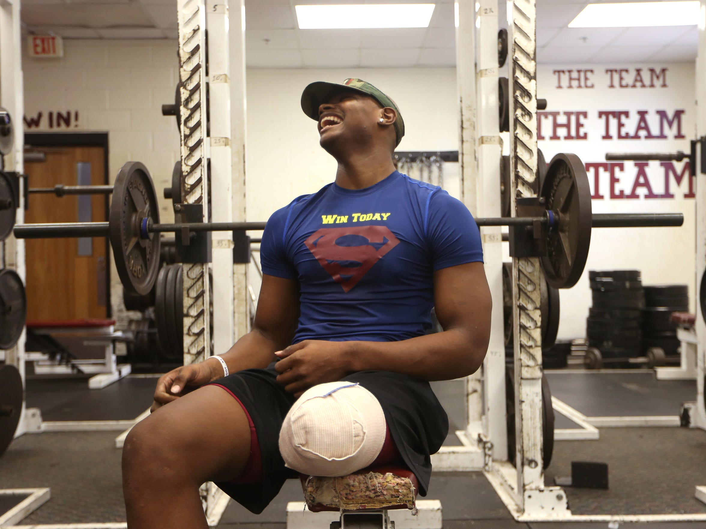 Cam Brown, who last month graduated from Florida High, works out in the gym at the school on Thursday, July 6, 2017, one week after having his left leg amputated due to complications with Osteosarcoma, a type of bone cancer.
