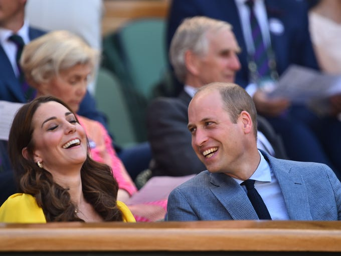 Catherine, Duchess of Cambridge jokes with her husband