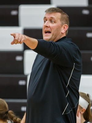 Pewaukee girls basketball coach Todd Hansen directs traffic during the game at home against Notre Dame Academy on Saturday, Nov. 18, 2017.