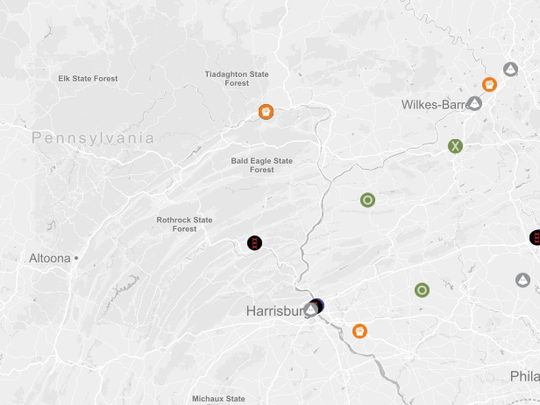 A map showing the location of hate groups in Pennsylvania, as compiled by the Southern Poverty Law Center.