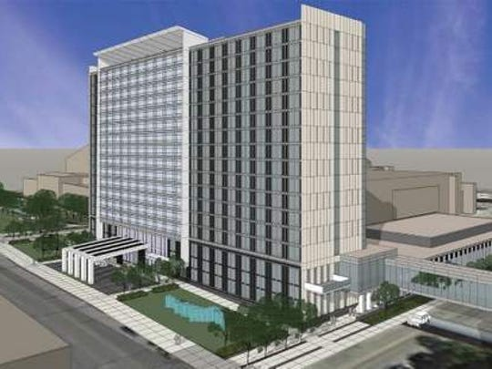 A rendering of the proposed $130 million convention hotel for downtown Des Moines.