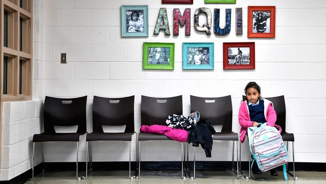 Amqui Elementary student Vanessa Moreno Salache is one of the last students to be picked up after school on May 4, 2017. Late pickups, along with the lack of substitute teachers and late drop-offs, are among challenges to improving reading scores at the school.