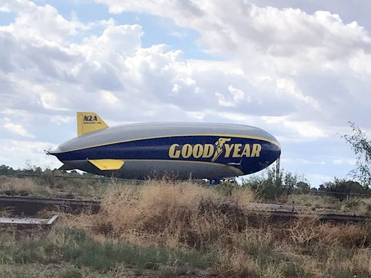 The Goodyear Blimp has been a frequent flyer over the skies of Deming and Luna County for many years, since the blimp acquired fame at national sporting events. The blimp was seen over Deming and made a brief pit stop near the old Army Air Base during a passing storm.