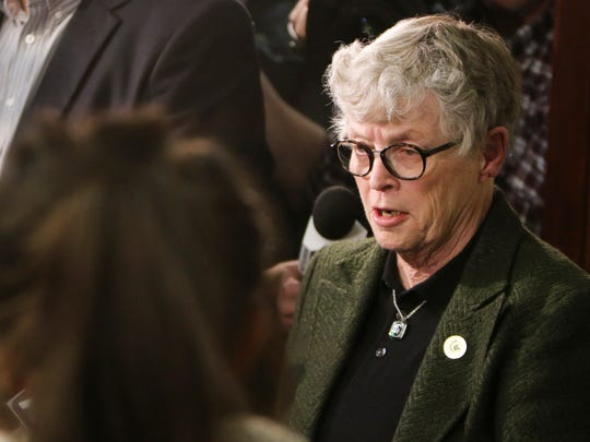 MSU President Lou Anna Simon speaks to members of the press, victims, and their families Wednesday afternoon, Jan. 17, 2018, in Circuit Judge Rosemarie Aquilina's courtroom in Eaton County, Mich.