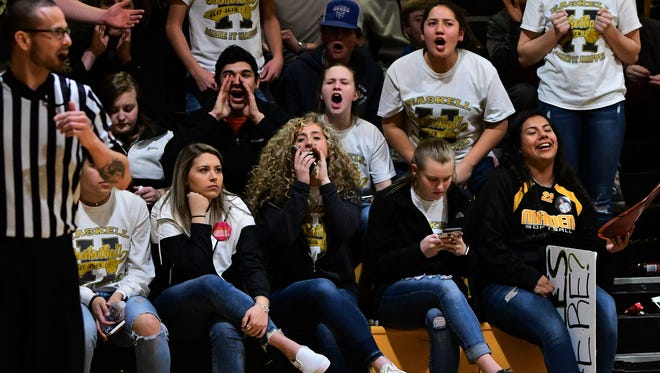 Haskell fans, shown here during Albany's 43-38 win at Haskell on Tuesday, Feb. 6, 2018, are among the most enthusiastic in the Big Country.