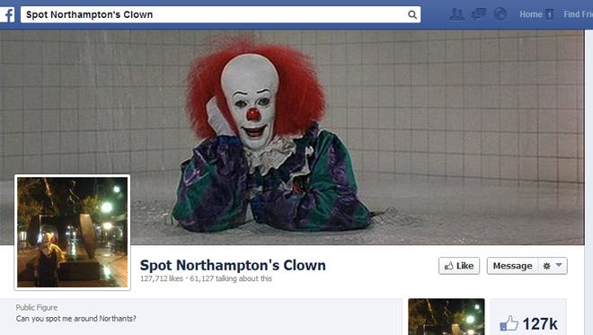 A screen shot shows the Facebook page of 'Spot Northampton's Clown' on Sept. 19, 2013.