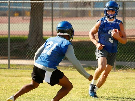 Chandler's Gunner Maldonado runs drills with teammates