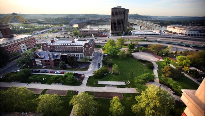 A view of Lytle Park photographed from the Residence Inn in the historic Phelps building. At left is the Anna Louise Inn. Western & Southern Financial Group took possession of the Anna Louise Inn, in center of photo, and plans to convert it into a hotel, with other projects in the Lytle Park area waiting in the wings. Photograph taken Wednesday, May 7, 2014.