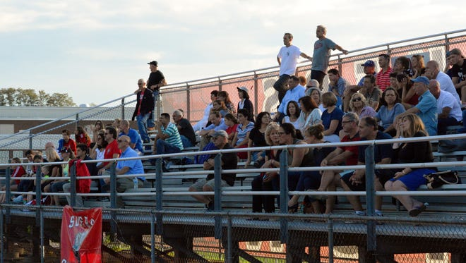 Fans at Somers watch the Tuskers against Lakeland on September 15, 2017.