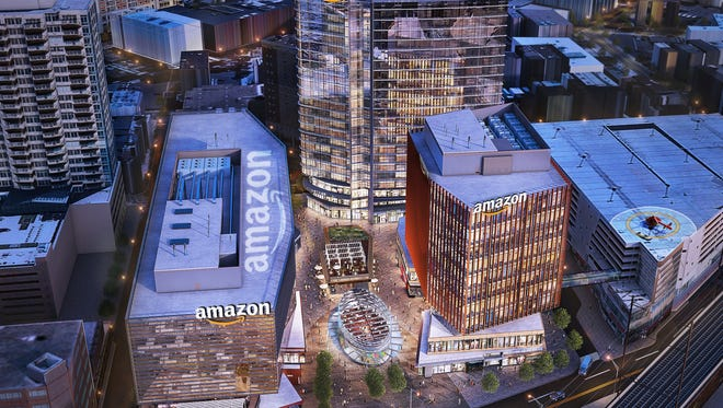 A rendering by Elkus Manfriedi Architects of a proposed plan for Amazon's second headquarters in Middlesex County.