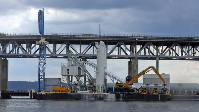 The floating concrete plant being used in the construction of the replacement of the Tappan Zee Bridge, photographed July 17.