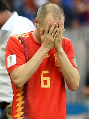 Spain's Andres Iniesta during the match against Russia.