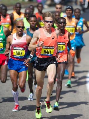 Ryan Hall, shown at the 2014 Boston Marathon, will run in the half marathon at P.F. Chang's Rock 'n' Roll Arizona on Jan. 18.