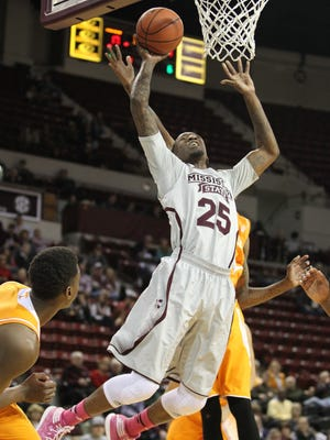 Mississippi State forward Roquez Johnson (25) leaps in the air to make a layup. Johnson plays his regular-season finale Saturday against Missouri.