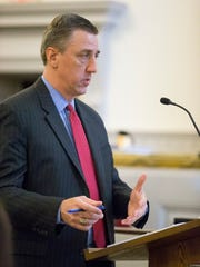 Benjamin Cayea's attorney, Matthew Van Houten gives his opening argument Friday morning in Tompkins County Court.