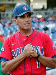 Arizona Wildcats head coach Andy Lopez stands outside the dugout prior to the game against the South Carolina Gamecocks in 2012 College World Series at TD Ameritrade Park.