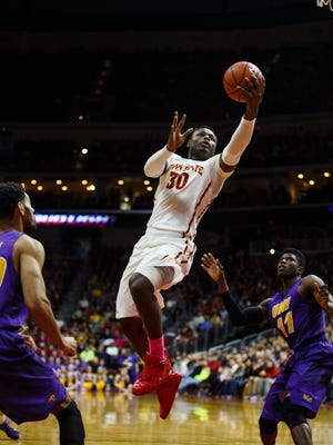 Iowa State's Deonte Burton goes up for a shot during their Big Four Classic game against University of Northern Iowa at the Wells Fargo Arena on Saturday, December 19, 2015 in Des Moines. UNI would go on to win 81-79.