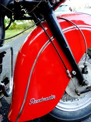Details of Doug Wothke's vintage motorcycle.