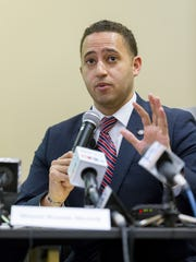 Ithaca Mayor Svante Myrick answers a question Wednesday