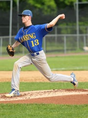 Zack Walker pitches for Lansing in the Class C championship game.