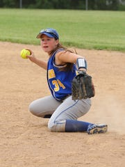 Meaghan Raleigh makes the throw from second for Maine-Endwell in the Class A game at BAGSAI on Thursday, June 2, 2016.