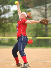 Binghamton's Paige Rauch pitches against Middletown in a Class AA state first-round game in 2016 at the BAGSAI Complex. Rauch threw a two-hitter in the Patriots' 1-0 victory.