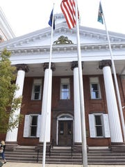 The original section of the Franklin County Courthouse holds the main court room upstairs and some county offices downstairs. President Judge Carol Van Horn this week went to Chambersburg Borough Council to address spacing issues in the courthouse complex.