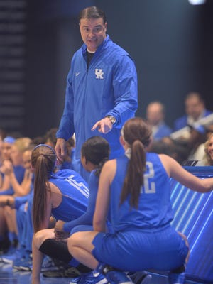 UK women's head coach Matthew Mitchell gives instructions during the University of Kentucky basketball's Big Blue Madness at Rupp Arena in Lexington, KY on Friday, October 14, 2016.