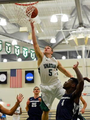 Central York grad Jared Wagner goes up for a lay-up in a game last season. Wagner will take part in the Spartans' game against Division I Mount St. Mary's on Tuesday.