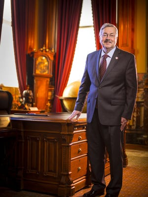 Iowa Gov. Terry Branstad photographed Wednesday Jan. 7, 2014, at his ceremonial formal office in the Iowa Statehouse in Des Moines, Iowa. Branstad was appointed ambassador to China by president-elect Donald Trump.