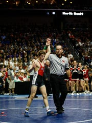 Cullan Schriever of Mason City wins his class 3A 106 pound championship match at the Iowa high school state wrestling tournament on Saturday, Feb. 18, 2017 in Des Moines.