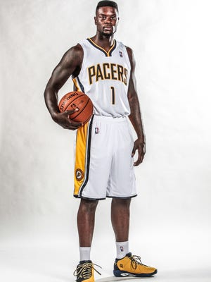 Friday September 27th, 2013, Indiana Pacers Media Day. Photo of number 1, Lance Stephenson