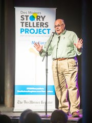 Abe Goldstien speaks at the Des Moines Storytellers event at Wooly's Thursday, Aug. 24, 2017.