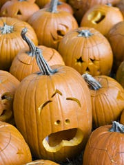 A pile of freshly carved pumpkins are ready for the