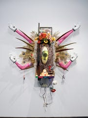 "Donald Fodness, ""Swag Emission,"" found detritus, store bought consumer goods, personal objects."