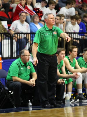 Seton Catholic Central coach Chris Sinicki directs his squad in state playoffs.